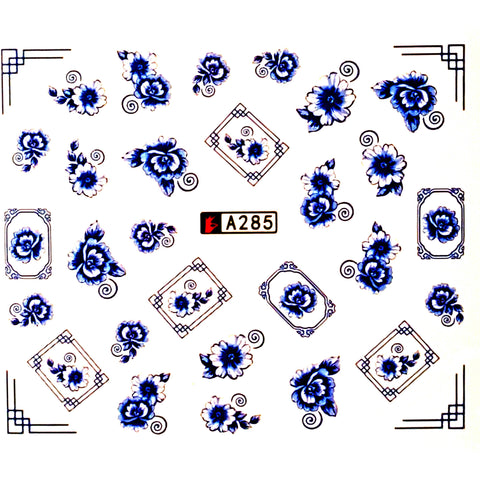 Blue Vintage Floral Water Decal - Vroni Nail Art