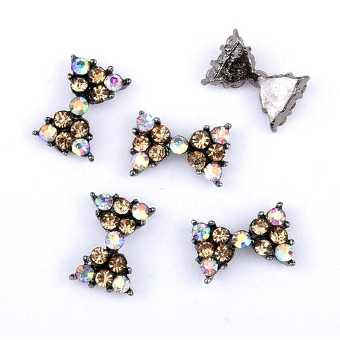 Black Crystal Bow Nail Charm - Vroni Nail Art