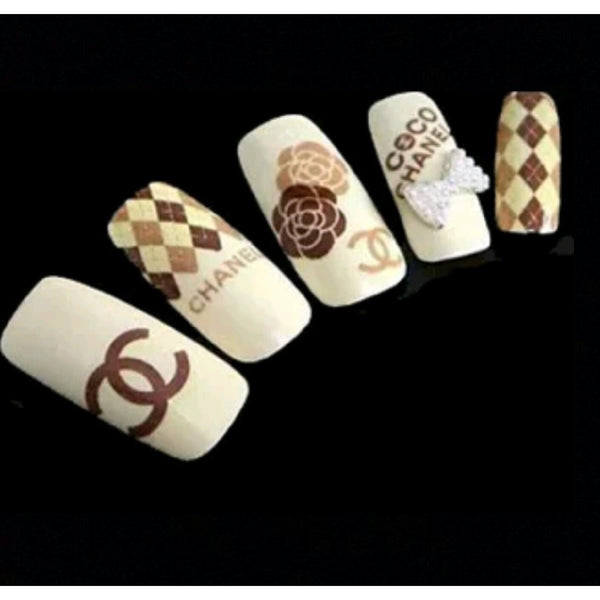 3D Designer Brown Water Decal - Vroni Nail Art