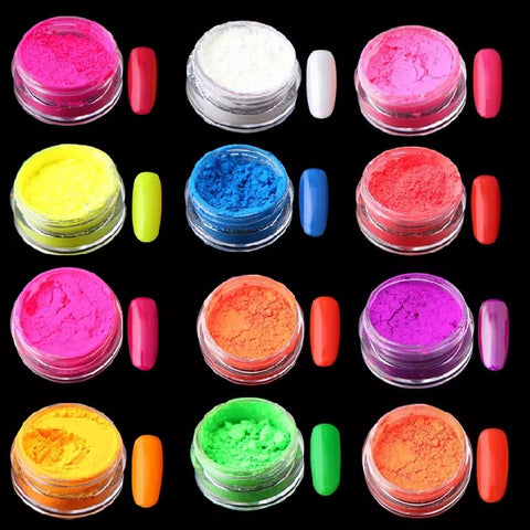 12 piece Neon Gradient Pigment Powder - Vroni Nail Art