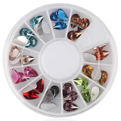 Colorful Teardrop Shaped Crystals Nail Art Wheel - Vroni Nail Art