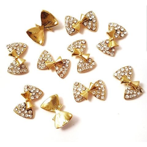 Gold Crystal Double Bow Nail Charm - Vroni Nail Art