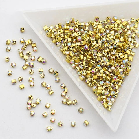 250pc Gold Claw AB Crystals SS5 Nail Jewelry Nail Rhinestones - Vroni Nail Art