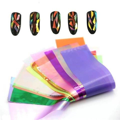20 pc Colorful Shattered Glass Sheets - Vroni Nail Art