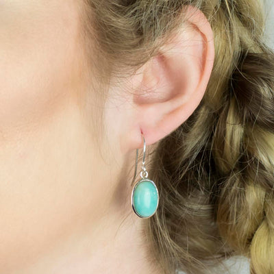 Amazonite Drop Earrings on Model