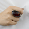 Amber, Citrine, and Garnet Ring on Model