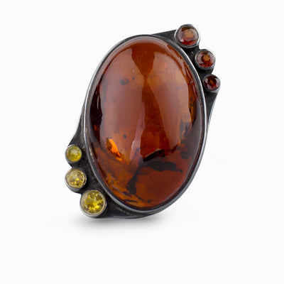 Amber, Citrine, and Garnet Ring