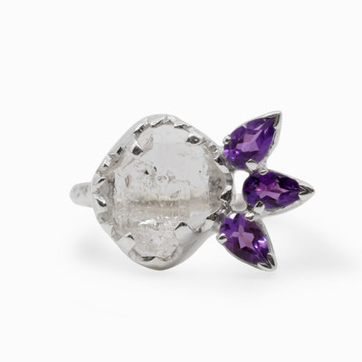Amethyst and Herkimer Diamond Ring