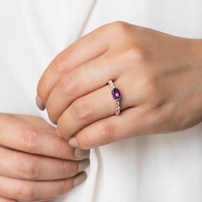 Amethyst & White Topaz Ring on Model