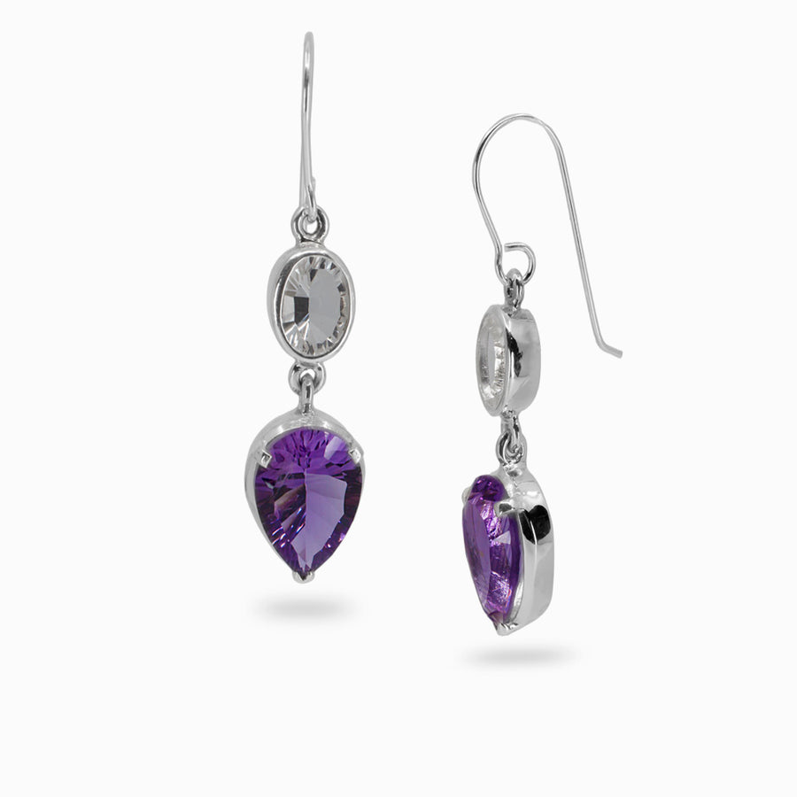 Amethyst and Clear quartz earrings