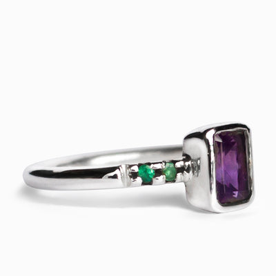 Amethyst & Emerald Ring