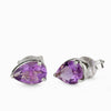 Faceted Amethyst Teardrop Studs Earrings