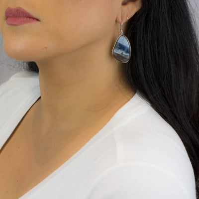 Blue Opal Drop Earrings on Model