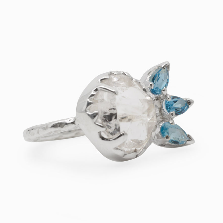 Blue Topaz and Herkimer Diamond Ring