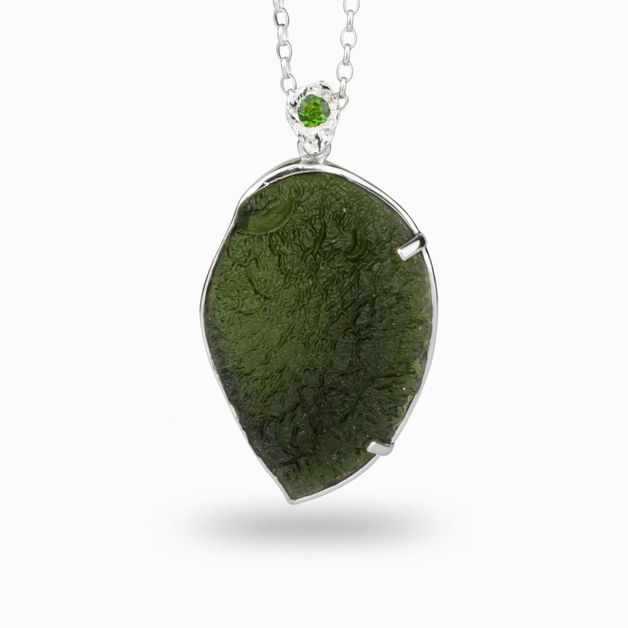 Moldavite and Chrome Diopside Pendant