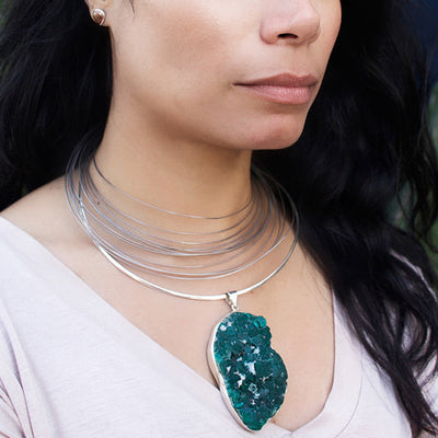 Dioptase Pendant on Model