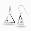 Triangulo: Black Spinel & Diamond Drop Earrings