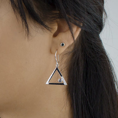 Triangulo: Black Spinel & Diamond Earrings