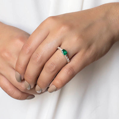 Emerald and White Topaz on model