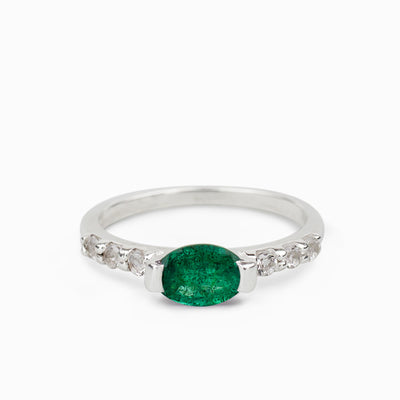 Emerald and White Topaz Ring