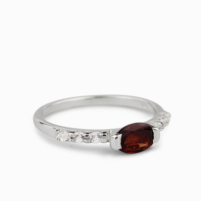 Garnet and White Topaz Ring
