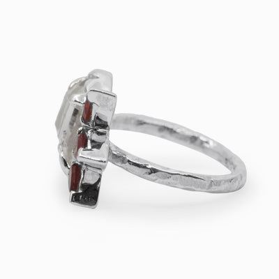 Garnet and Herkimer Diamond Ring