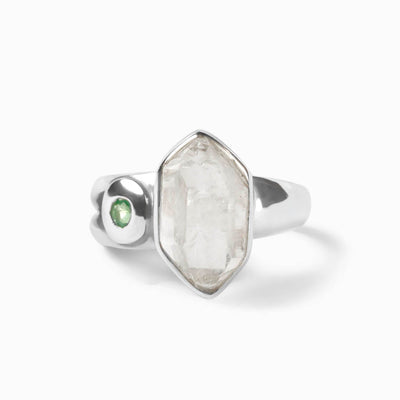 Herkimer Diamond and Emerald Ring