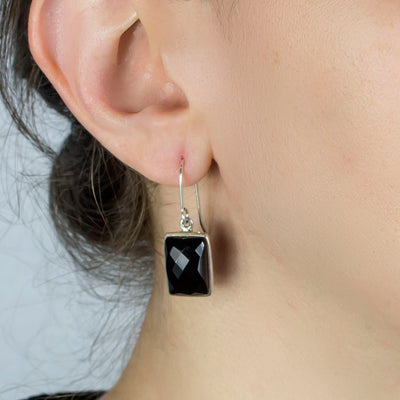 Onyx Earrings on Model