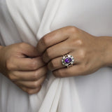 Amethyst and Emerald Three Band Ring
