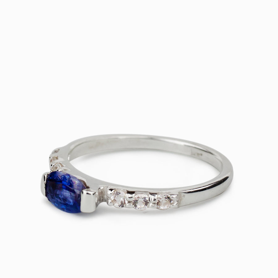 Kyanite and White Topaz Ring