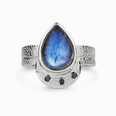 Labradorite Ring with Black Diamonds