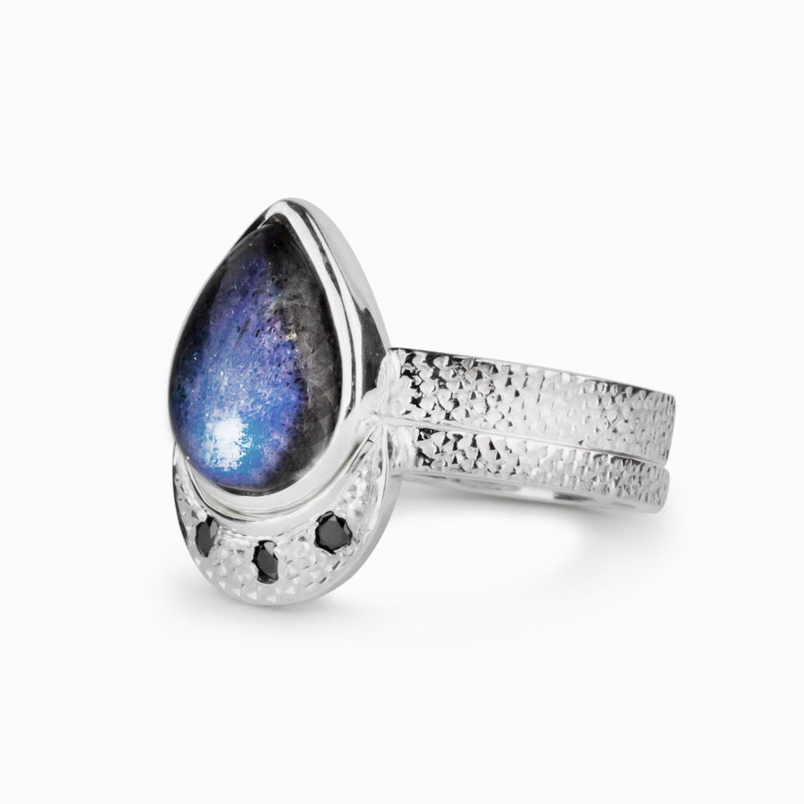 Labradorite & Black Diamond Ring
