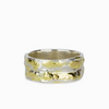 925 Sterling Silver & 18k Gold Textured Wide Band