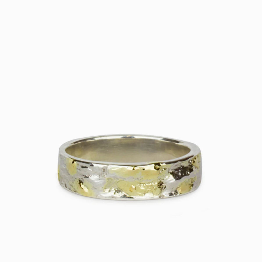 925 Sterling Silver & 18k Gold Textured Band