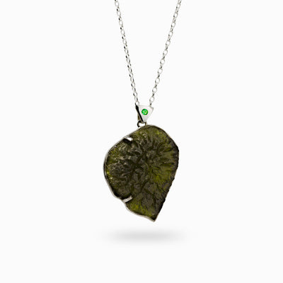 Moldavite and Emerald Pendant