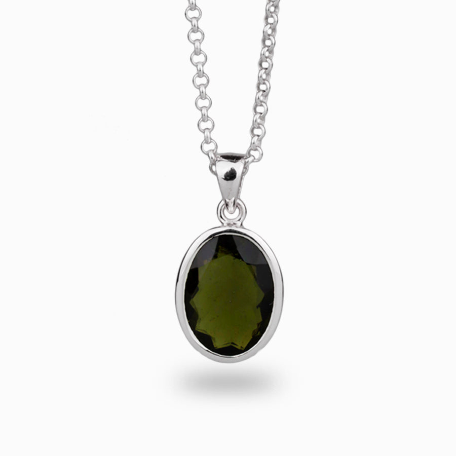 Moldavite Faceted Pendant
