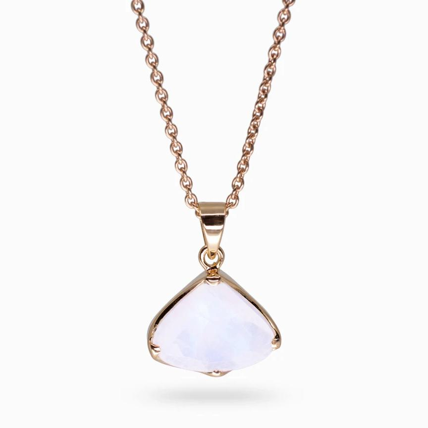 Rainbow Moonstone,  Rose Gold Vermeil