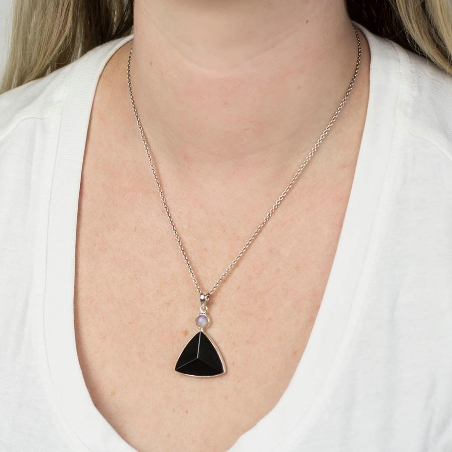 Black Tourmaline & Rainbow Moonstone Pendant