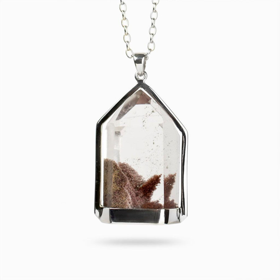 Transmitter Quartz with Hematite and Manganese Pendant