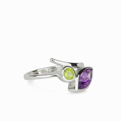 Faceted Peridot & Amethyst Ring