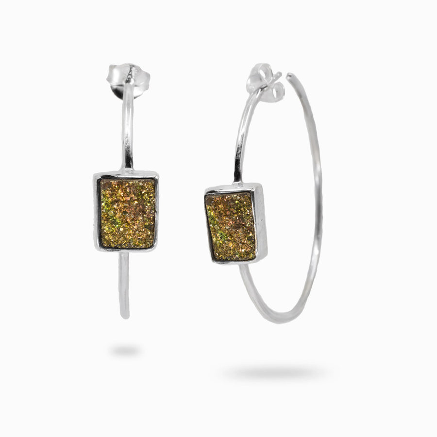 Rainbow Pyrite Hoop Earrings