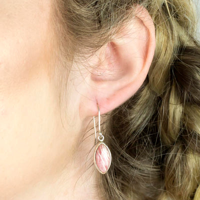 Rhodochrosite Earrings on Model