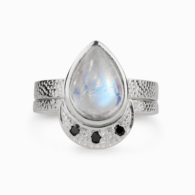 Rainbow Moonstone and Black Diamond Ring