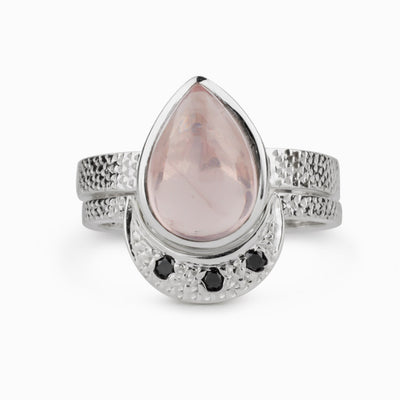 Rose Quartz and Black Diamond Ring