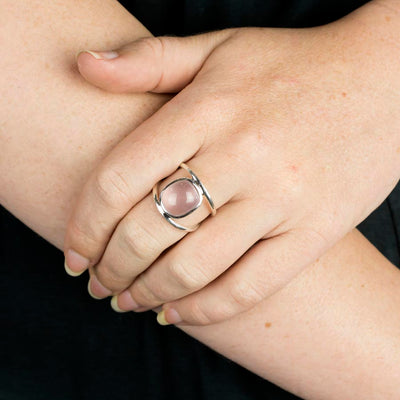 Rose Quartz Ring on Model