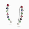 Ruby, Sapphire, Emerald, and White Topaz Ear Climbers