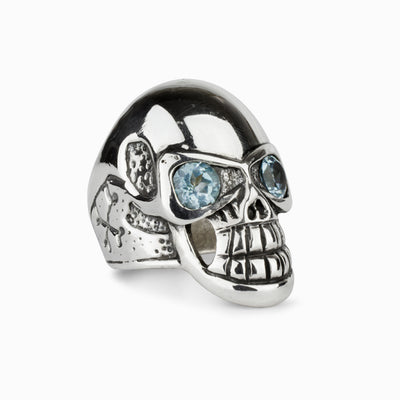 Blue Topaz Skull Ring