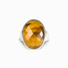 Tiger Eye Ring Faceted Oval Cabochon, Thick Band