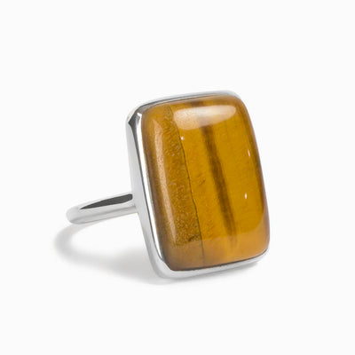 Tiger Eye Rectangle Ring