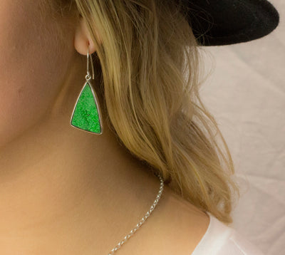 Uvarovite Garnet Drop Earrings on Model